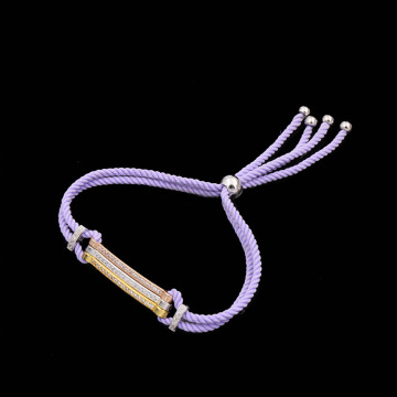 Cotton Pave Zirconia Diamonds Bar Custom Rope Bracelet
