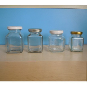 Square Glass Jar with Tin Lids