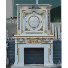 Cheminée en marbre avec manteau en pierre (QY-LS319)