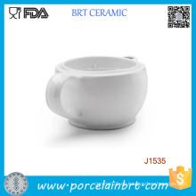 Tazón de fuente de cuenco de afeitar de cerámica doble pared blanca