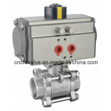 Pneumatic Control Actuator Three Pieces Stainless Steel Ball Valve