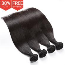 Бесплатный образец расширения Девы Бразильский человеческих волос 3 пачки, Оптовая 100% Бразильский шить в переплетения с закрытием