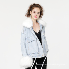 Facotry fur collar jeans jackets