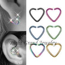 Titanio anodizado oro corazón en forma de joyas Piercing Helix