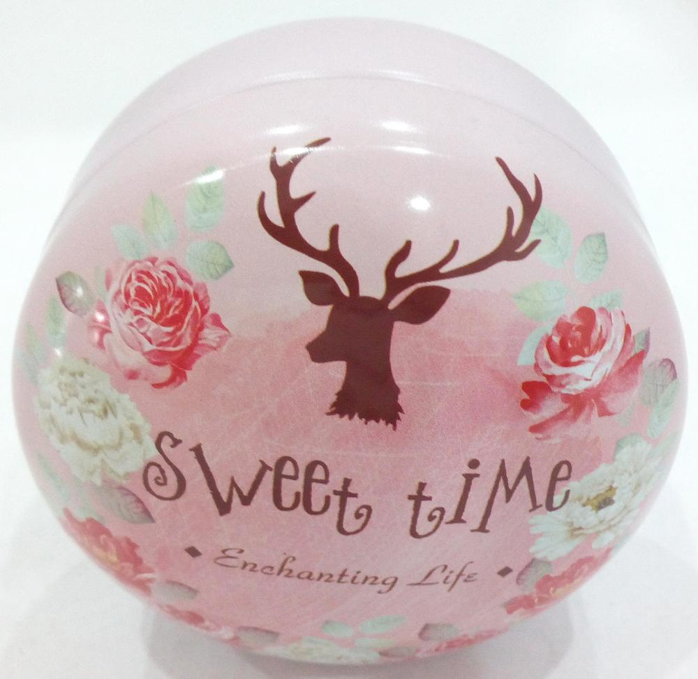 Round Pink Elk Candy Tin Box