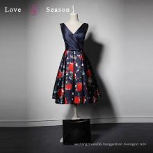 LSQ062 V-neck sleeveless with belt natural waist black evening prom gown spandex short evening dress