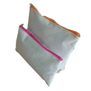 linen Cotton bag with zipper for makeup