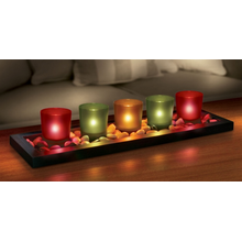 Candelero Glass Jewel Tone 5pcs Set
