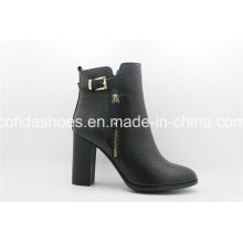 Popular Multi Designs Chunky Heel Lady Leather Ankle Boots