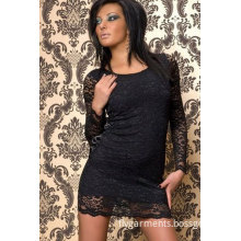 Sheer Lace Long Sleeved Clubwear Party Mini Dress Sizes