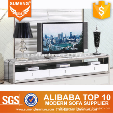 modern nice india style unique marble top stainless steel tv stand with 3 drawers