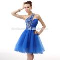 2017 nova moda one-ombro azul mini vestido de noite senhora