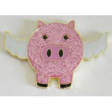 Broche rose mignonne d'insigne en métal de cochon de mouche dans des paillettes (insigne-195)