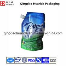 Bolsa plástica impresa aduana del canalón para el detergente líquido del lavadero