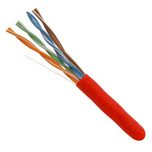 4-Pair 24AWG UTP Cobre puro Cat5e Cable de red Ethernet Rojo