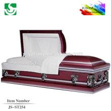 JS-ST254 luxury adult steel caskets supplier