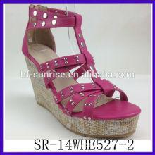SR-14WHE527-2 2014 women confortable sexy heel sandal fashion PU ladies sandal new model plum wedge sandals
