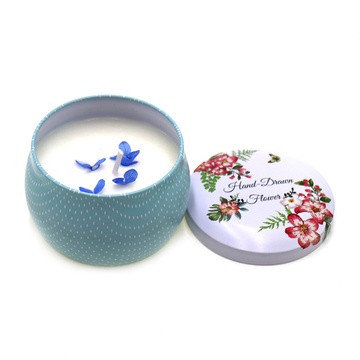 Paraffin wax tin candle met kleurendruk
