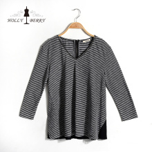 V-neck Fashion Breathable Black White Striped Autumn Womens Shirts