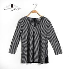 Модные V-образным вырезом дышащие черные белые полосатые осенние женские рубашки