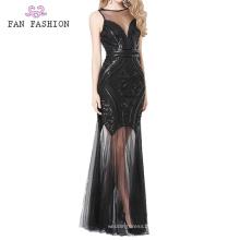 Vestidos de lentejuelas negros Vestido de fiesta de dama