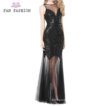 Black Sequin Everning Dresses Lady's Ball Gown
