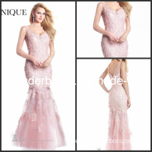Pink Lace Evening Dress by-Janique Beading Mermaid Special Occasion Dresses Pageant Dresses W024