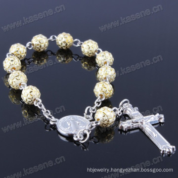 Gold 8mm Ceramics Bead Catholic Rosary Bracelet with Metal Cross