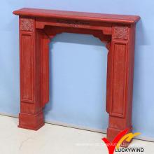 Kd Weinlese-antike rote Farbe Französisches hölzernes Kamin-Mantel mit Harz-Blume