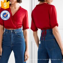 Recortada volante rojo de manga corta con cuello en V verano abrigo superior fabricación ropa de mujer al por mayor de la moda (TA0078T)