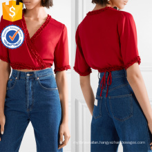 Cropped Ruffle Red Short Sleeve V-Neck Summer Wrap Top Manufacture Wholesale Fashion Women Apparel (TA0078T)