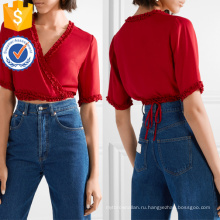 Укороченные рюшами красный с коротким рукавом V-образным вырезом оберните Топ Производство Оптовая продажа женской одежды (TA0078T)
