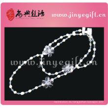 Collar de cadena larga con cuentas de perlas de cristal de invierno hechas a mano de Handrmade