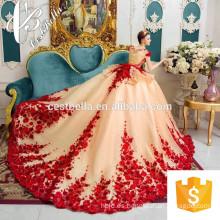 Vestido de novia de lujo 2017 Vestido de novia moldeado pesado de la alta costura del bordado del vestido del vestido de boda del cordón del rojo