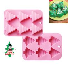 6 Cavity Christmas Tree Silicone Cake Soap Molds