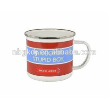 red color and words coating enamel mugs special design decals