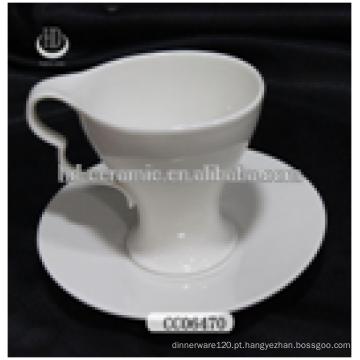 Copo de café cerâmico com pires, copo de chá de cerâmica personalizado e pires, copo de cerâmica e pires com logotipo