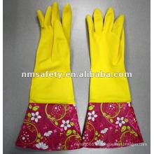 NMSAFETY печати перчатка домочадца латекса с длинной манжетой