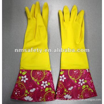 NMSAFETY Printing Luva de látex para uso doméstico com punho comprido