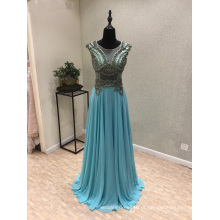 Vestido de noite azul Beading Chiffon