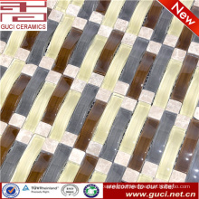 new product mixed strip crystal glass mosaic tile in shop decoration