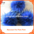 Navy Blue Raccoon Fur Pom Poms