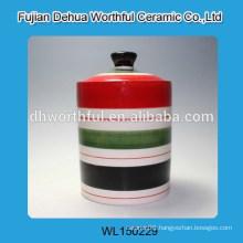 Colorful ceramic salt pot tableware sealed pot sealed container