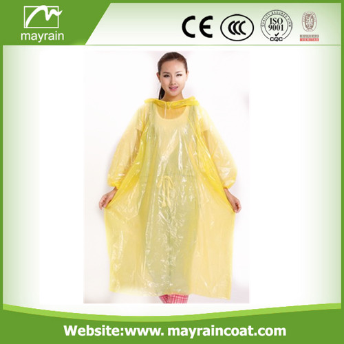 Yellow Colors PE Raincoat