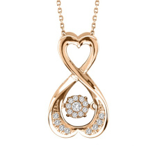Rose Gold Dancing Diamond Jewelry 925 Silver Pendants
