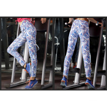 Leggings das mulheres de fitness colorido antibacteriano macio elástico na cintura calças de yoga