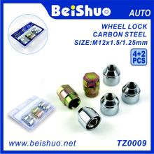 4+2 PCS Carbon Steel Locking Wheel Nut Set