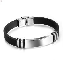 Men Cheap Manual Band Bangles 316L Stainless Steel Silicone Bracelet