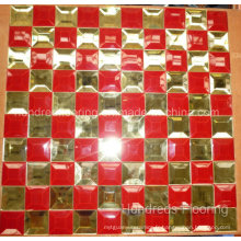Mosaïque en verre miroir en verre diamant or rouge (HD057)