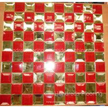 Azulejo de mosaico de espelho de vidro de diamante de ouro vermelho com mistura vermelha (HD057)